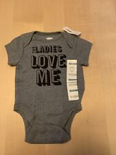 "Old Navy One Piece, ""The Ladies Love Me"" Grey, Boys 0-3 Months, NWT!"