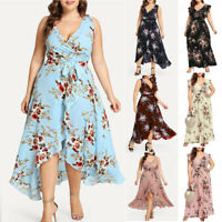 Plus Size Women Sleeveless V-Neck Boho Flower Bohemian Party Maxi Dress US