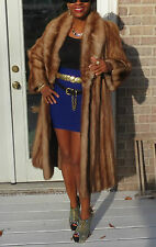 Fab Full length Opera Style Stone Marten Sable Fur coat jacket stroller S-M 2-10