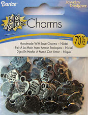 HANDMADE WITH LOVE Charm Tags HEART Nickel (Qty-70) 16mm