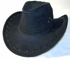 6 BLACK SOFT LEATHER STYLE COWBOY HAT mens hats ladies caps womens COWGIRL CAP