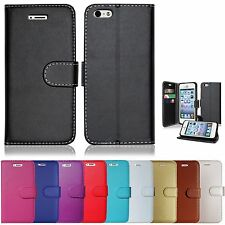 PLAIN COLOURS MOBILE PHONE BOOK WALLET CASE COVER FOR SAMSUNG GALAXY S2 S3 S4 S5
