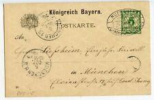 GERMANY BAVARIA POSTAL CARD W/VIEW 5PF, 1896 NUERNBERG EXHIBITION       (CD39)