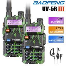 2x BAOFENG UV-5R III Tri-Band Green 2-Way Radio VHF/UHF Walkie Talkie + Headset