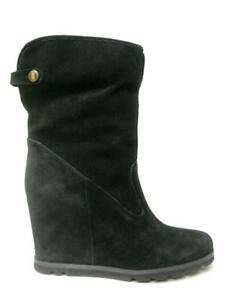 NIB UGG AUSTRALIA KYRA BLACK SUEDE LEATHER SHERLING WEDGE ANKLE BOOTS 10 WOMENS