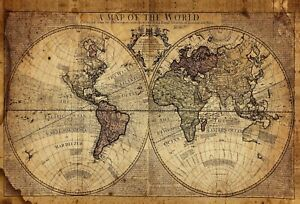 Vintage World Map - Classic Old Antique Style Large Poster / Canvas Pictures
