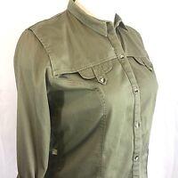 Womens XXL SHE SAFARI Shirt Olive Khaki Long Sleeve Vented Princess Seaming