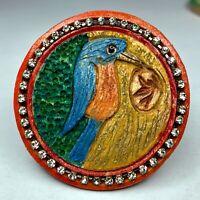Original Frank Rossi studio button - hand-carved wooden bird