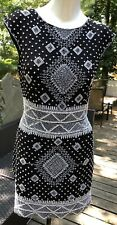 Renzo Kai Cocktail Dress Tunic Beaded Sequin  Black White New Silk M