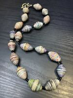 "Vintage Bohemian 24"" Multi Colored Paper Rolled  Hand Made Beads Necklace"