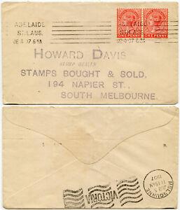 AUSTRALIA STAMP DEALER 1907 HOWARD DAVIS ADELAIDE MACHINE PMK REPLY ENV.VICTORIA