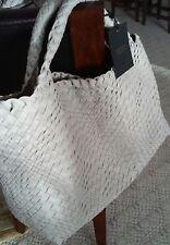 Falorni FALOR La Borse ITALY, LT GREY Hand Woven Intrecciato Leather Tote~NWT-XL
