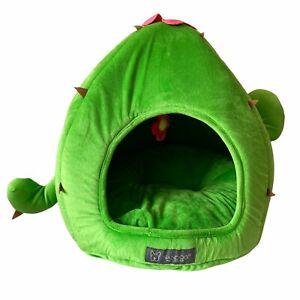 Nandog Small Cactus Pet Bed Green Reversible Plush Machine Washable Dog Cat BNWT