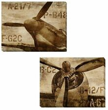 Vintage Airplane & Propeller by Matthews 2-pc Gallery Wrapped Canvas Giclee Set
