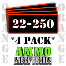 "22-250 Ammo Label Decals for Ammunition Case 3"" x 1"" Can stickers 4 PACK -OR"