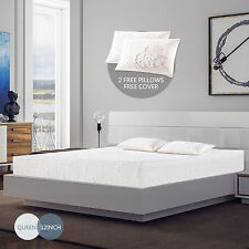 "12""inch Queen Size Memory Foam Bed Mattress Cool & Gel Medium Firm w/Free Pillow"