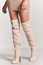 NEW NUDE Faux Suede Over-the-Knee Boots,SIZE:9