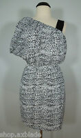 BCBG GENERATION White-Black Print One Shoulder Strap Casual Dress size M