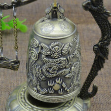 Vintage Bronze Lock Dragon Carved Buddhist Bell Chinese Geomant Zinc Alloy BL3