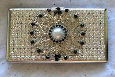 ~Ornate Jet Black & Pearl~ Crystal Rhinestone Cigarette Case  100s 120s Stunning
