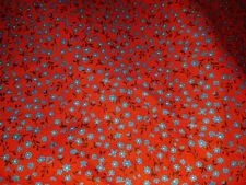 Vintage Cotton Print Fabric Quilting red tiny blue flowers Calico 42 X 4 5/8 yd