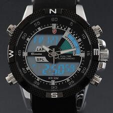 SHARK Men's Military LCD Day Date Analog Rubber Band Quartz Wrist Sport Watch