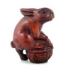 Boxwood Hand Carved Netsuke Sculpture Miniature Rabbit Basket Vege Fruit Decor