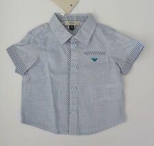 NWT Armani Junior Baby Boys SS Blue Button Down Collared Shirt Sz 6m 9m NEW $130