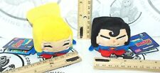 "2 LOT SUPERGIRL + SUPERMAN DC COMICS KAWAII CUBES SERIES 1 MINI 2"" PLUSH TOY NEW"