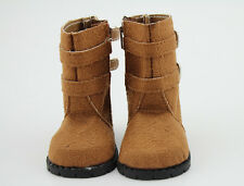 """Brown Faux Suede Boots Shoes for 18"""" American Girl Doll Clothes"""
