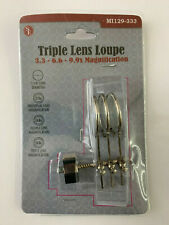 Triple Lens Clip-On Loupe with 3.3x, 6.6x, and 9.9x Magnification