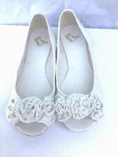 Report Size 7 Cream Ricci Canvas Peeptoe Ballet Flat With Flower Toe  T