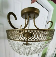 Retro Vintage White and Gold Hanging Chandelier Light Acrylic Bead Shade Ceiling
