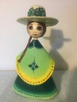 "Sermel Tonala JAL Paper Mache Doll Senorita Figurine 9"" Tall Mexico Folk Art"