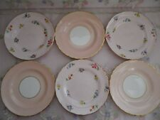 Lovely Vintage Tuscan Mismatched  6 Side Plates, Pretty in Pink
