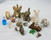Vintage Lucky Elephants Trunk Up Figurines Pewter Quartz Brass Resin Ceramic