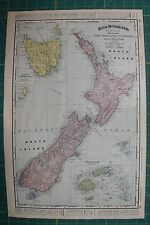 New Zealand Vintage Original 1895 Rand McNally World Atlas Map Lot