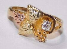 Black Hills Gold 10 kt 12 kt Diamond Solitaire Leaves Ring Size 7