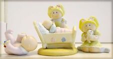 3-Vintage Collectible 1984 CPK Porcelain Figurines Bottle for Baby Bro/Girl/Baby