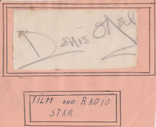 Paper signed by film & radio star ~ Denis O'Neil