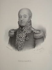 Litho PORTRAIT AMIRAL P.Nicolas ROLLAND NAPOLEON REVOLUTION MARINE DIEPPE 1833