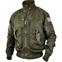 Mens Bomber MA-1 Jacket Coat Flight Air Force Pilot Flying Army Military Outwear