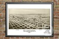 Old Map of Clarendon, TX from 1890 - Vintage Texas Art, Historic Decor