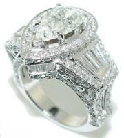 6.50 CT Crown PEAR SHAPE Diamond Engagement RING 18KW