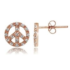 Rose Gold Tone over Sterling Silver Cubic Zirconia Peace Stud Earrings