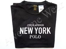 New Ralph Lauren Polo Custom Fit 100% Cotton Black New York T Shirt Slim sz M