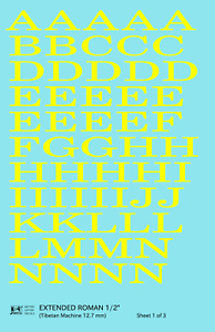 K4 G Decals Yellow 1/2 Inch Extended Roman Letter Number Alphabet Set