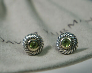 David Yurman 925 Silver 585 GOLD GREEN Peridot Petite Cable Cookie Earrings 11mm
