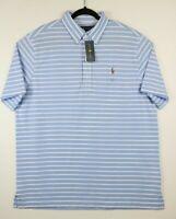 NWT Polo Ralph Lauren Mens XL Blue White Striped Knit Oxford Polo Shirt