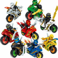 8Pcs Ninjago Motorcycle Set Minifigures Ninja Mini Figures Lego Blocks Toys